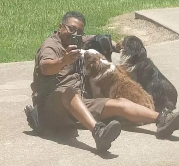 livreur selfies avec les chiens